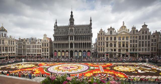 Virágszőnyeget borítottak Brüsszel főterére