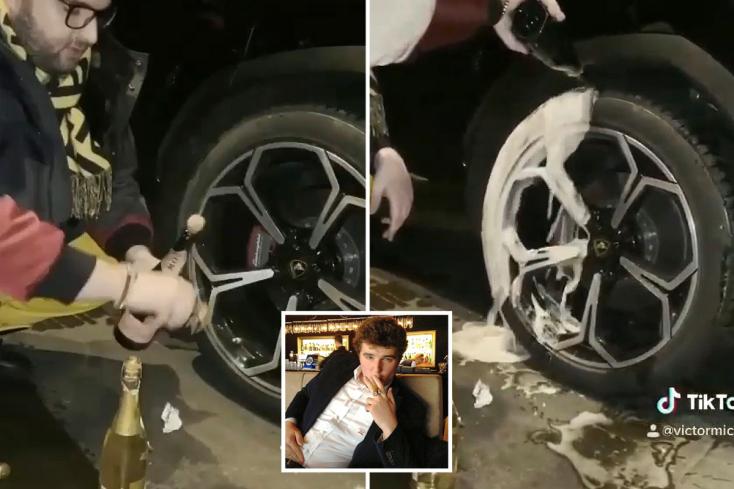 Elképesztő: Pezsgővel mosta le Lamborghinije kerekét a román milliomoscsemete – VIDEÓ